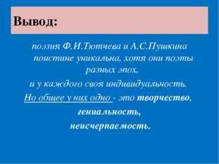 Вывод: поэзия Ф.И.Тютчева и А.С.Пушкина поистине уникальна, хотя они поэты ра