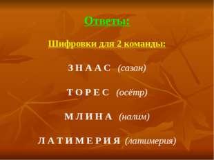 Ответы: Шифровки для 2 команды:  З Н А А С   (сазан)  Т О Р Е С   (осётр