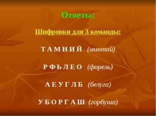Ответы: Шифровки для 3 команды:  Т А М Н И Й   (минтай)  Р Ф Ь Л Е О   (