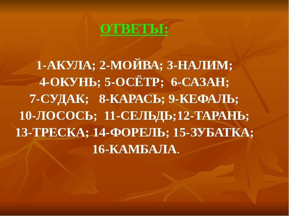ОТВЕТЫ:  ОТВЕТЫ:  1-АКУЛА; 2-МОЙВА; 3-НАЛИМ;  4-ОКУНЬ; 5-ОСЁТР;  6-САЗАН;...