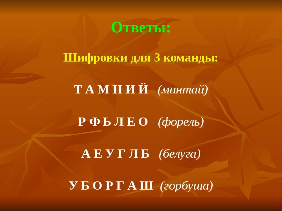 Ответы: Шифровки для 3 команды:  Т А М Н И Й   (минтай)  Р Ф Ь Л Е О   (...