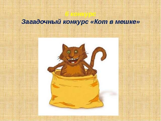 6 конкурс Загадочный конкурс «Кот в мешке»