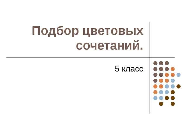 Подбор цветовых сочетаний. 5 класс