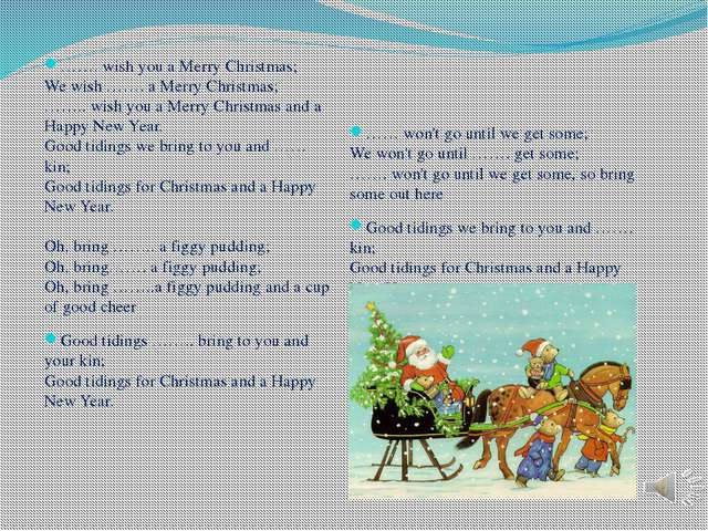 ……. wish you a Merry Christmas;  We wish ……. a Merry Christmas;  …….. wish y...