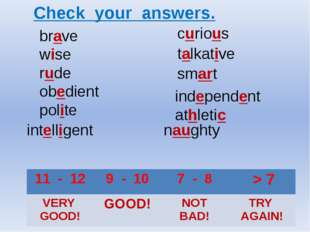 brave wise rude obedient polite curious talkative smart intelligent naughty i