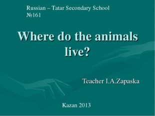 Where do the animals live? Teacher I.A.Zapaska Russian – Tatar Secondary Scho
