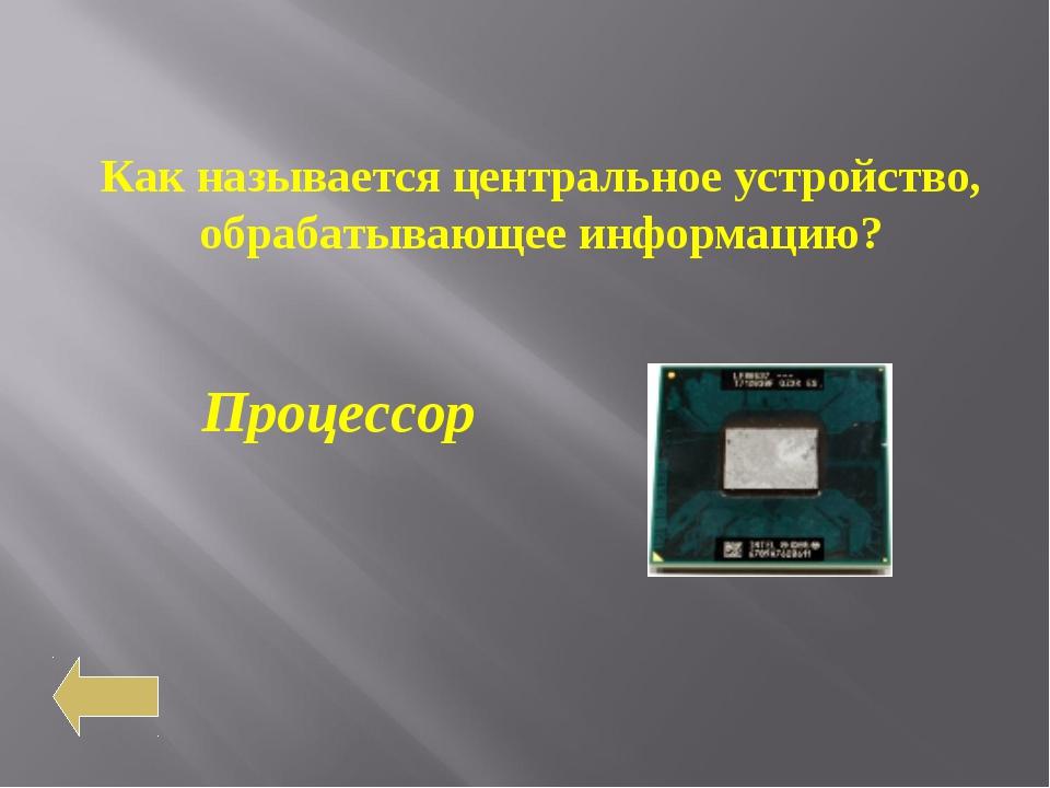 Как называется центральное устройство, обрабатывающее информацию? Процессор