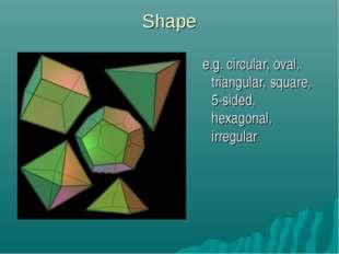 Shape e.g. circular, oval, triangular, square, 5-sided, hexagonal, irregular