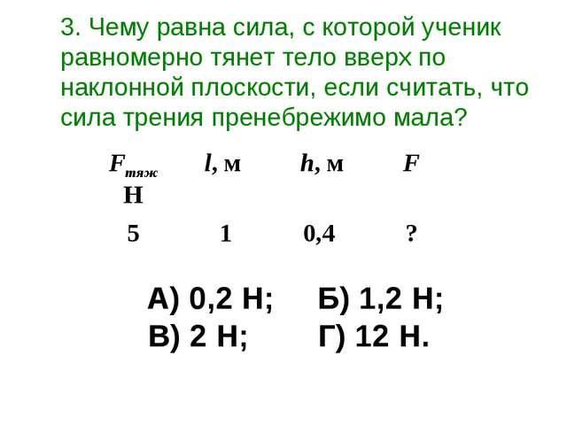 А) 0,2 Н;Б) 1,2 Н; В) 2 Н;Г) 12 Н. 3. Чему равна сила, с которой ученик...