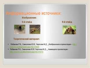 Информационные источники: 6-й слайд 8-й слайд Лобанова Р.Б., Смекалова Ю.В.,