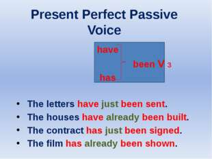 Present Perfect Passive Voice have been V 3 has The letters have just been s