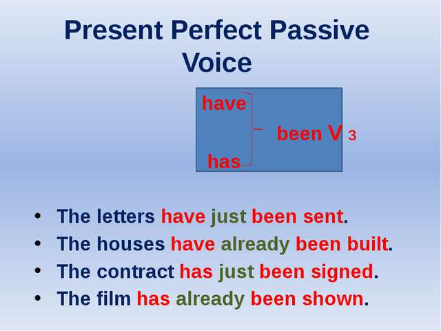Present Perfect Passive Voice have been V 3 has The letters have just been s...