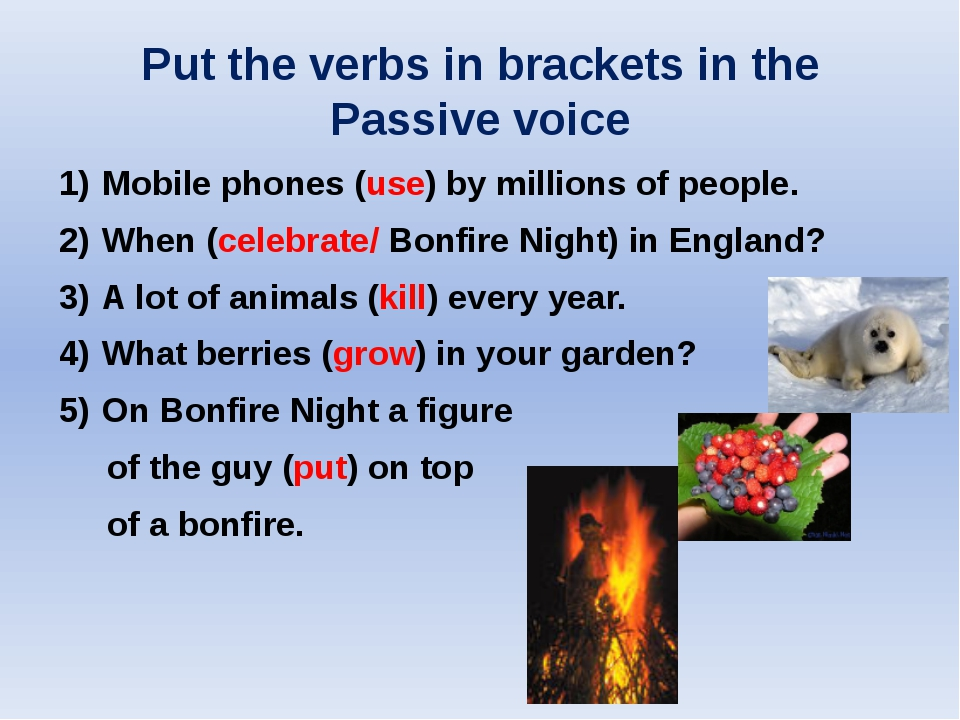 Put the verbs in brackets in the Passive voice Mobile phones (use) by million...