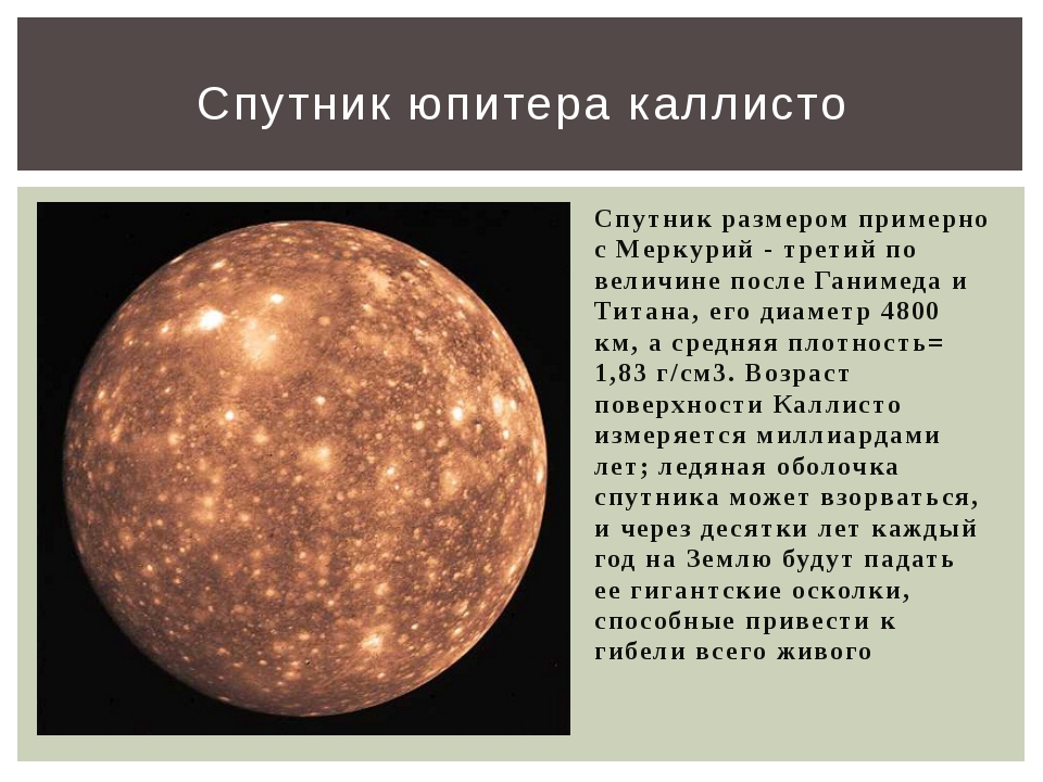 Спутник размером примерно с Меркурий - третий по величине после Ганимеда и Ти...
