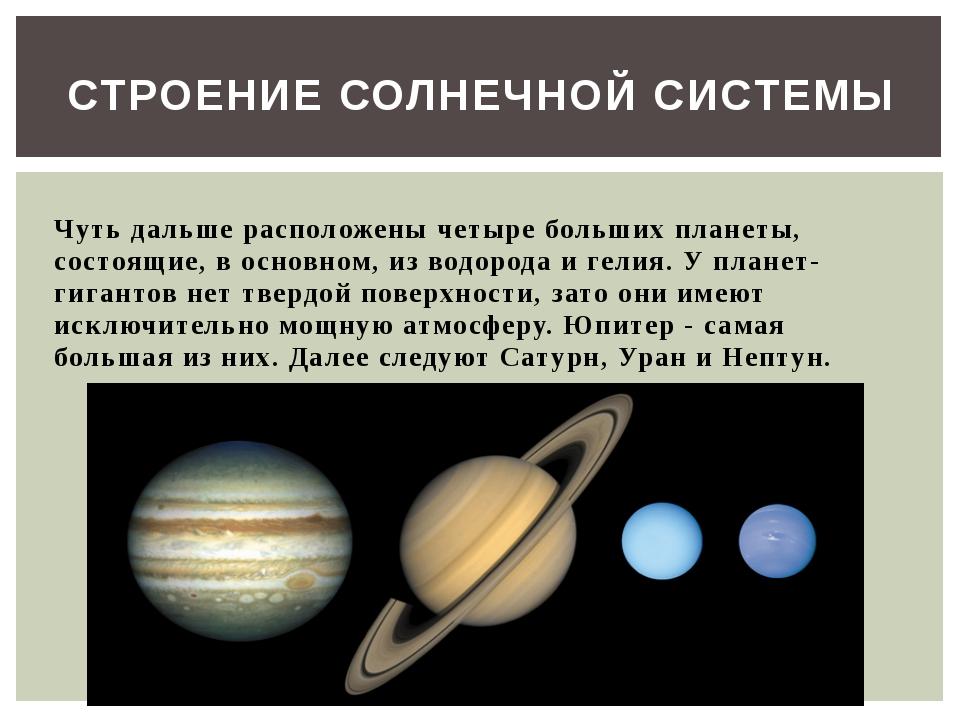 Чуть дальше расположены четыре больших планеты, состоящие, в основном, из во...