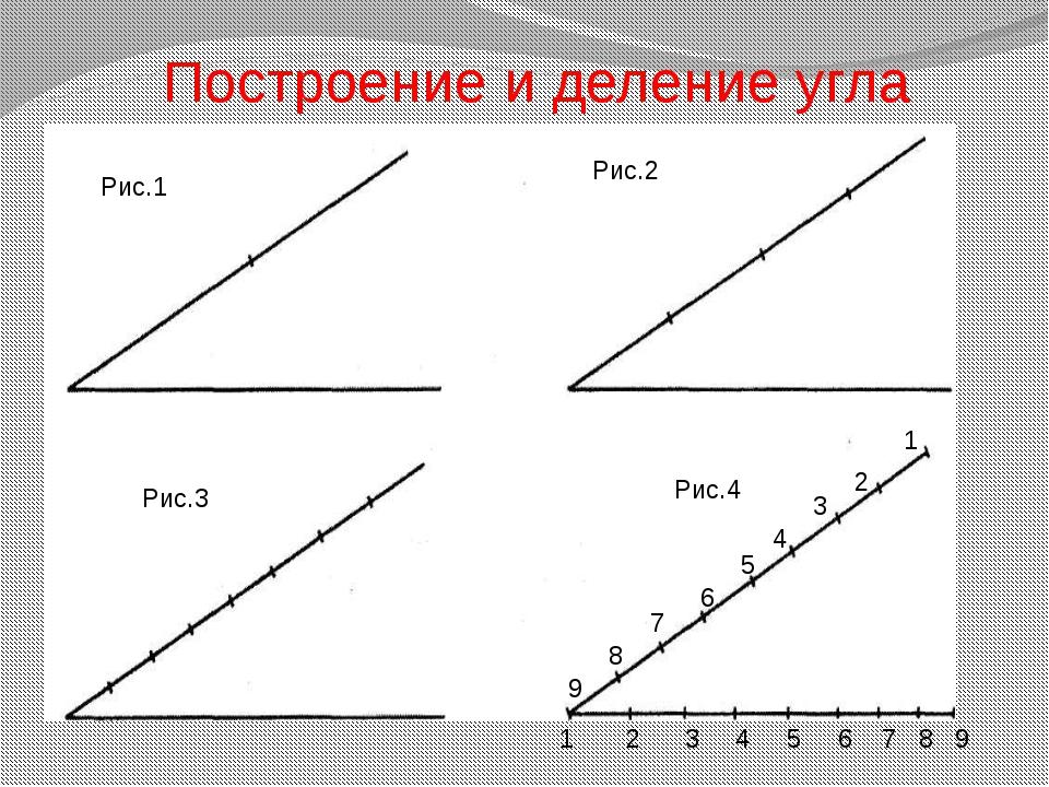 Построение и деление угла 1 2 3 4 5 6 7 8 9 1 2 3 4 5 6 7 8 9 Рис.1 Рис.2 Рис...