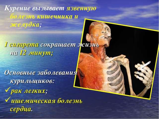 Курение вызывает язвенную болезнь кишечника и желудка; 1 сигарета сокращает ж...