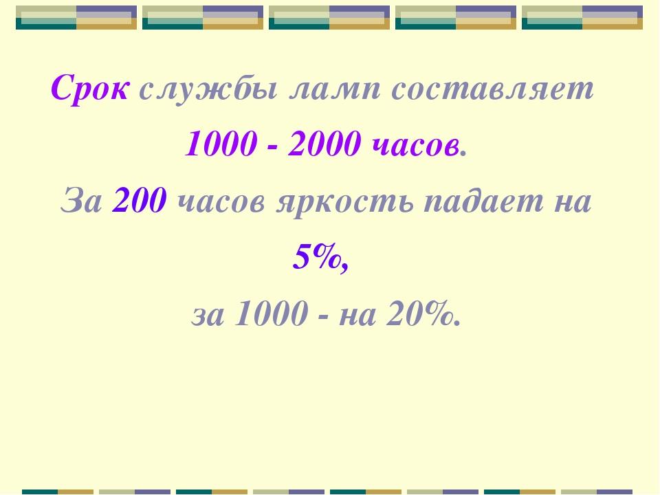 Срок службы ламп составляет 1000 - 2000 часов. За 200 часов яркость падает на...