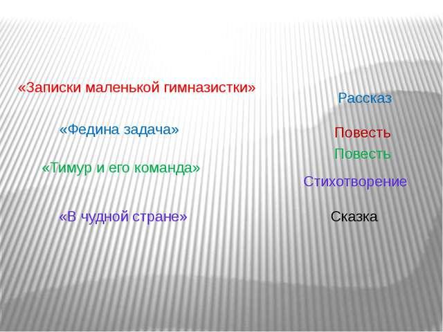 Рассказ Повесть Сказка Стихотворение «Федина задача» «Тимур и его команда» «З...