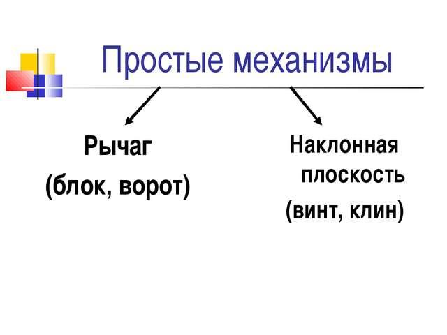 Простые механизмы Рычаг (блок, ворот) Наклонная плоскость (винт, клин)