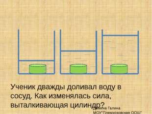 Ученик дважды доливал воду в сосуд. Как изменялась сила, выталкивающая цилинд
