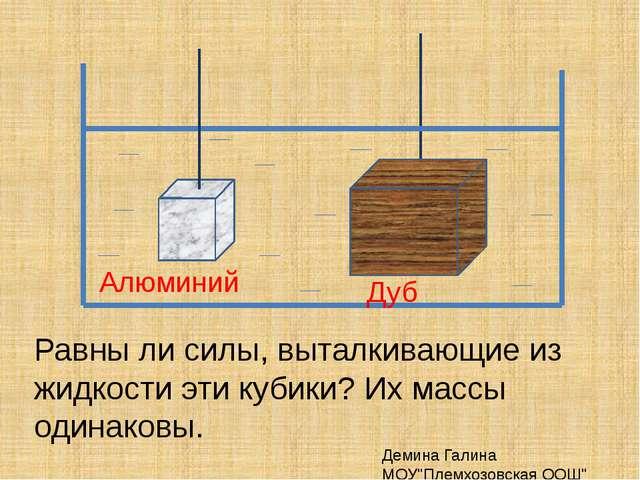Равны ли силы, выталкивающие из жидкости эти кубики? Их массы одинаковы. Деми...