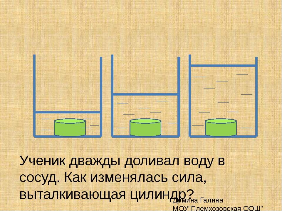 Ученик дважды доливал воду в сосуд. Как изменялась сила, выталкивающая цилинд...
