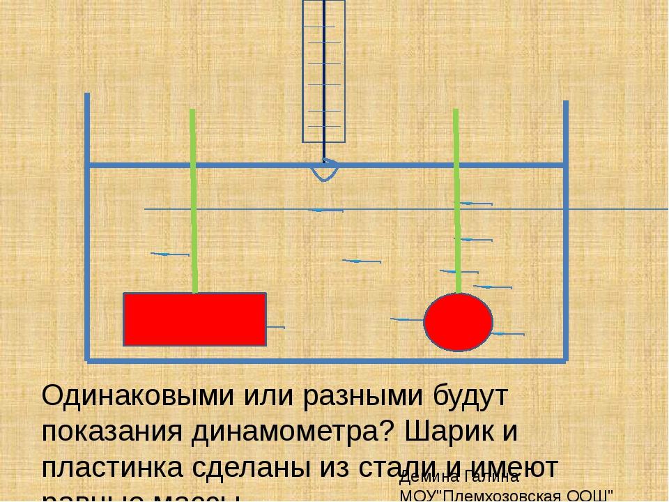 Одинаковыми или разными будут показания динамометра? Шарик и пластинка сделан...
