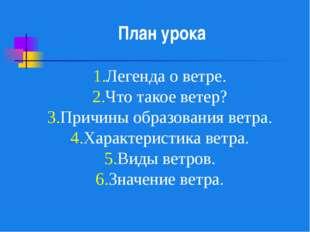 1.Легенда о ветре. 2.Что такое ветер? 3.Причины образования ветра. 4.Характе
