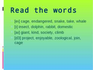 Read the words [eı] cage, endangered, snake, take, whale [ı] insect, dolphin,