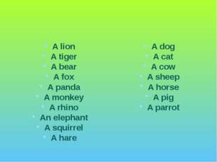 A lion A tiger A bear A fox A panda A monkey A rhino An elephant A squirrel A