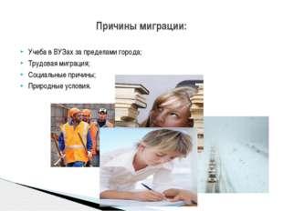 Учеба в ВУЗах за пределами города; Трудовая миграция; Социальные причины; При