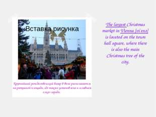 The largest Christmas market in Vienna [vi`enә] is located on the town hall s