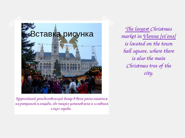 The largest Christmas market in Vienna [vi`enә] is located on the town hall s...