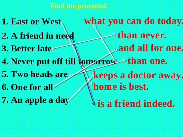 Find the proverbs! 1. East or West 2. A friend in need 3. Better late 4. Nev...
