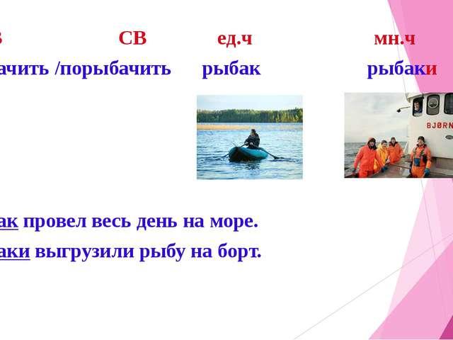 НСВ СВ ед.ч мн.ч Рыбачить /порыбачить рыбак рыбаки Рыбак провел весь день на...