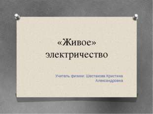 «Живое» электричество Учитель физики: Шестакова Кристина Александровна