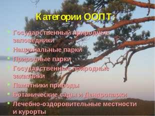 Категории ООПТ: Государственный природные заповедники Национальные парки При