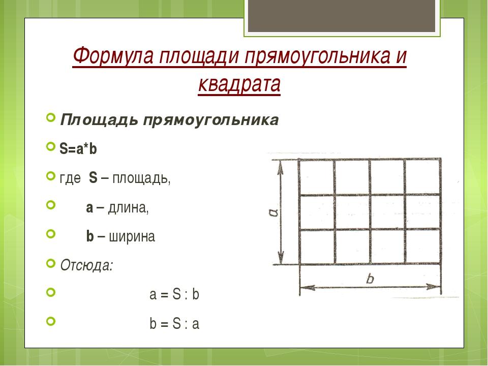 Формула площади прямоугольника и квадрата Площадь прямоугольника S=a*b где S...