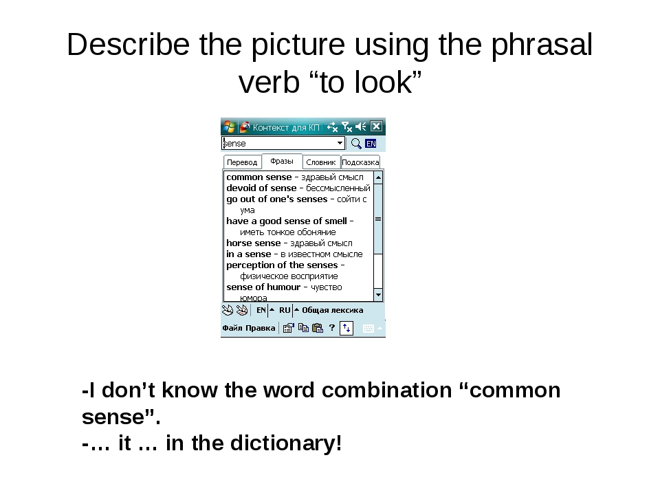 "Describe the picture using the phrasal verb ""to look"" -I don't know the word..."