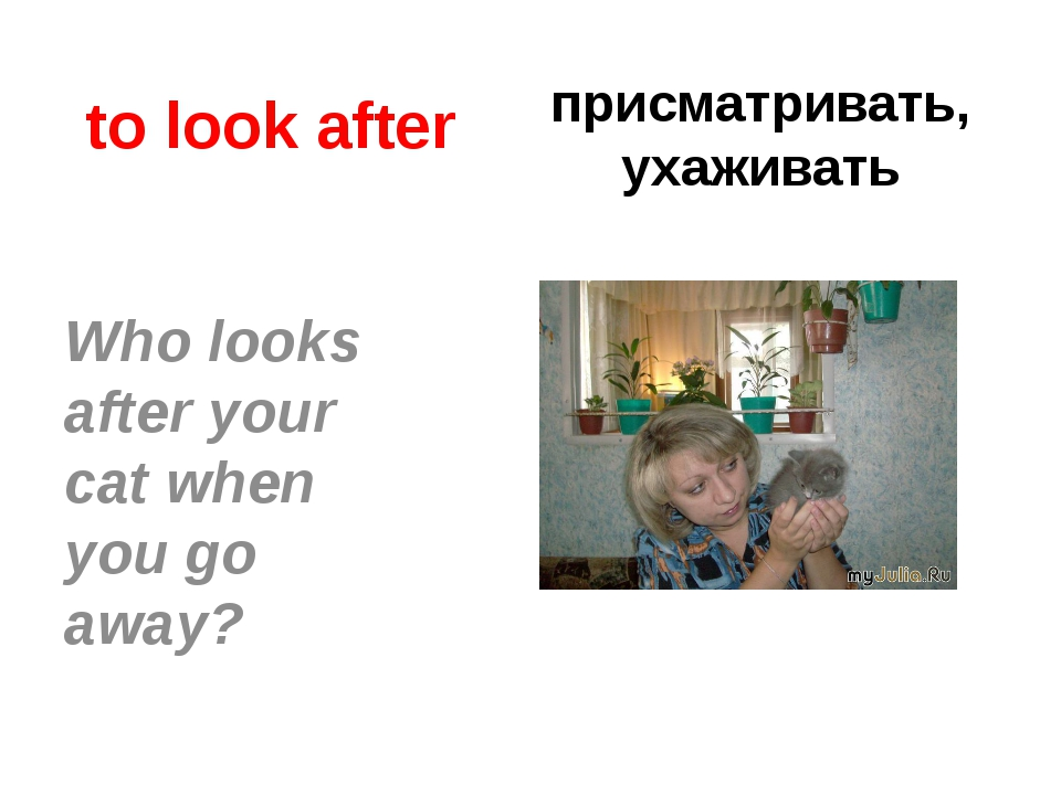 to look after присматривать, ухаживать Who looks after your cat when you go a...