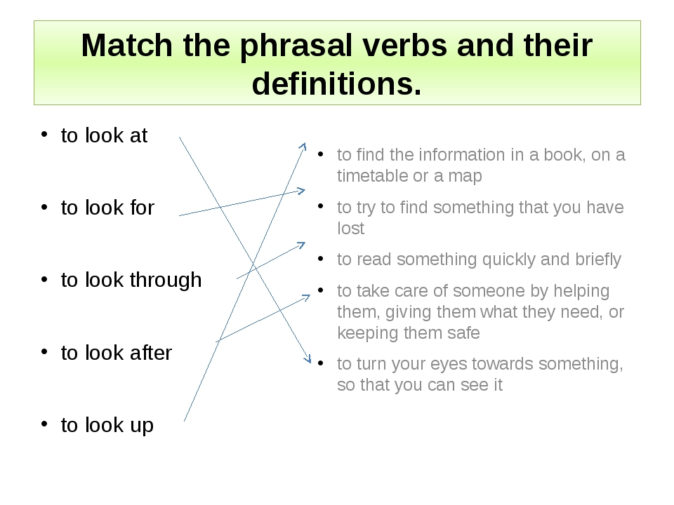 Match the phrasal verbs and their definitions. to look at to look for to look...