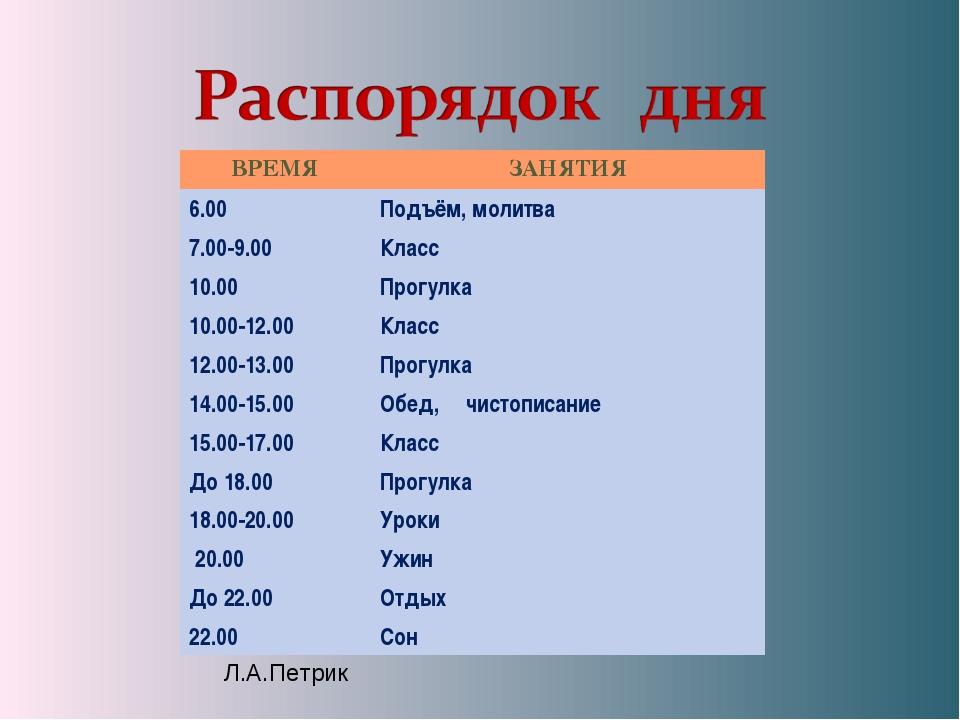 ВРЕМЯЗАНЯТИЯ 6.00 Подъём, молитва 7.00-9.00 Класс 10.00Прогулка 10.00-12....