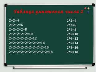 Таблица умножения числа 2 2+2=4 2+2+2=6 2+2+2+2=8 2+2+2+2+2=10 2+2+2+2+2+2=1