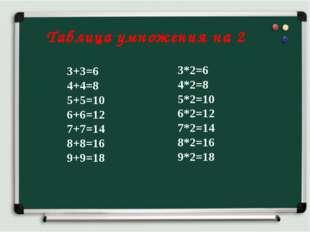 Таблица умножения на 2 3+3=6 4+4=8 5+5=10 6+6=12 7+7=14 8+8=16 9+9=18 3*2=6