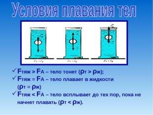 Fтяж > FA – тело тонет (ρт > ρж); Fтяж = FA – тело плавает в жидкости (ρт =