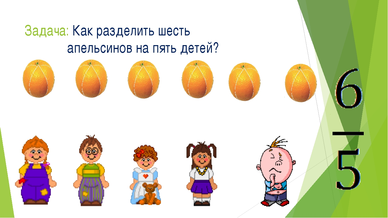 Задача: Как разделить шесть апельсинов на пять детей?