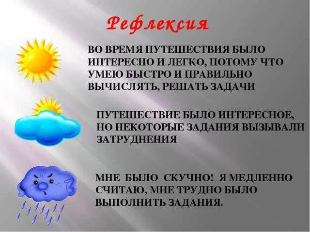 Рефлексия ВО ВРЕМЯ ПУТЕШЕСТВИЯ БЫЛО ИНТЕРЕСНО И ЛЕГКО, ПОТОМУ ЧТО УМЕЮ БЫСТРО...