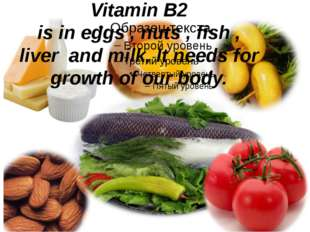 Vitamin B2 is in eggs , nuts , fish , liver and milk. It needs for growth of