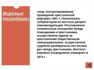 Мировые посредники лица, контролировавшие проведение крестьянской реформы 186
